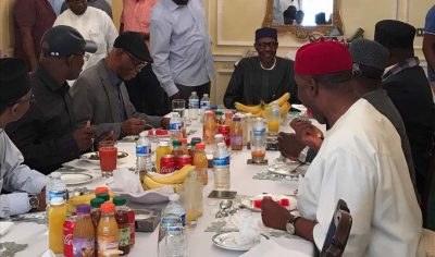 (Photo) Buhari Hosts APC Chairman, Govs To Lunch In London On Sunday