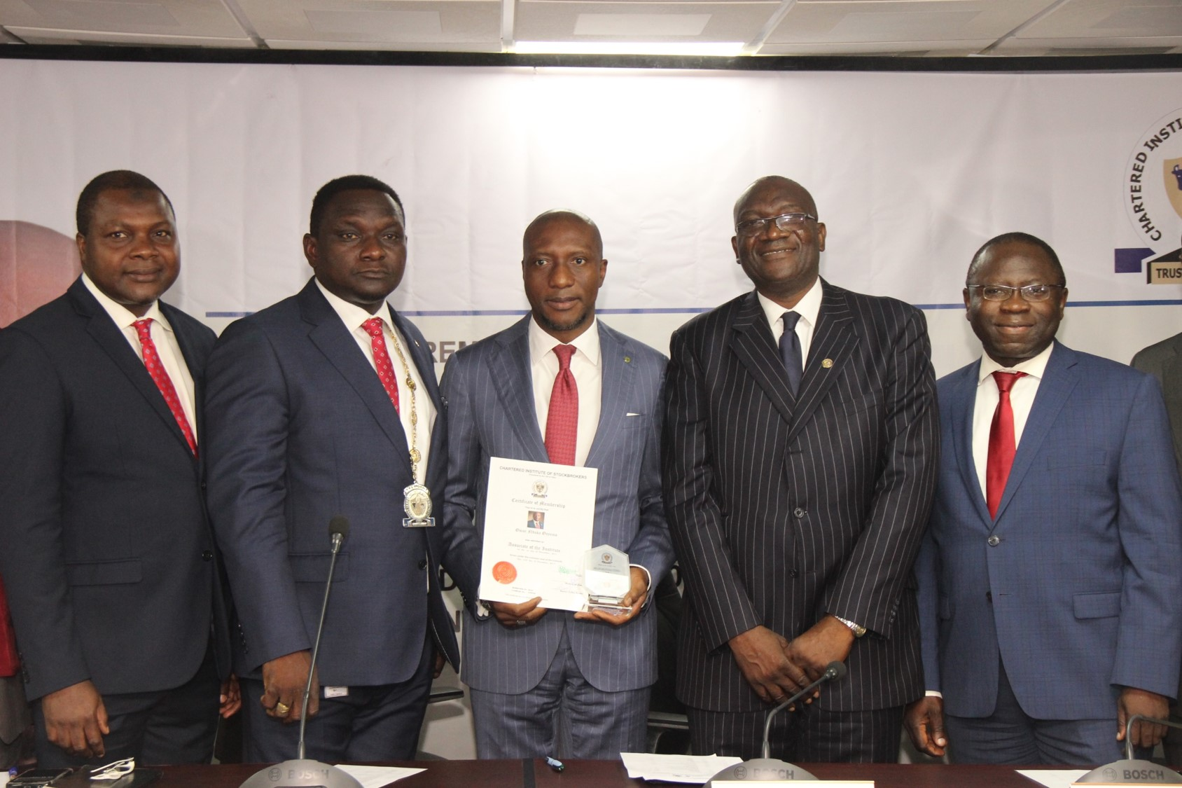 (Photo News) Stockbrokers' Institute Inducts Onyema, CEO Of Nigeria's Exchange As Member