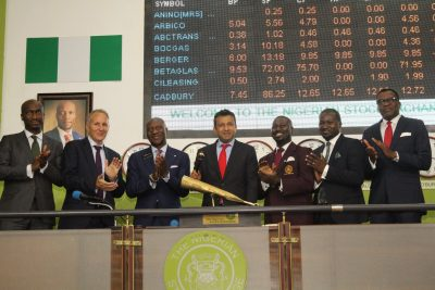 Photo News: Institute Of Directors Nigeria President Sound Closing Gong On NSE