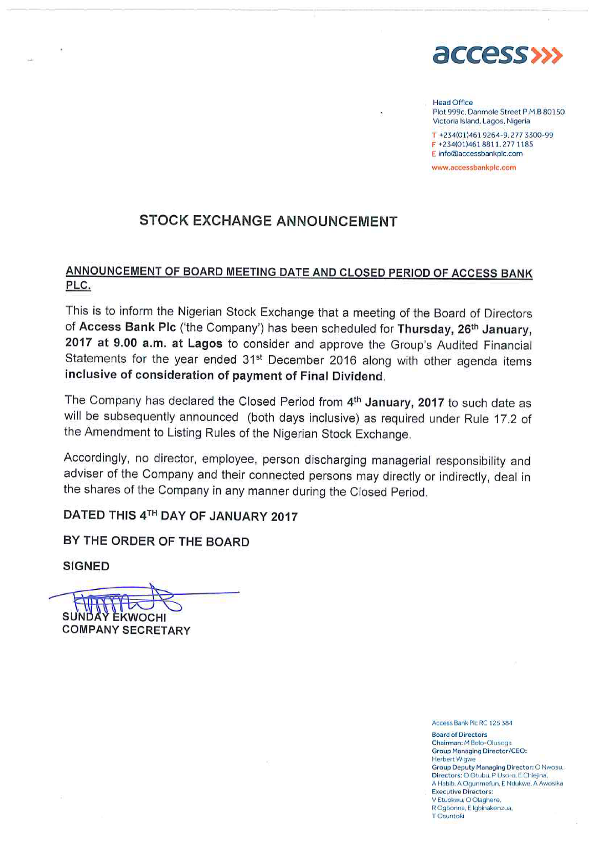 Photo of Access Bank Board Meets Jan. 26, To Approve Account, Dividend