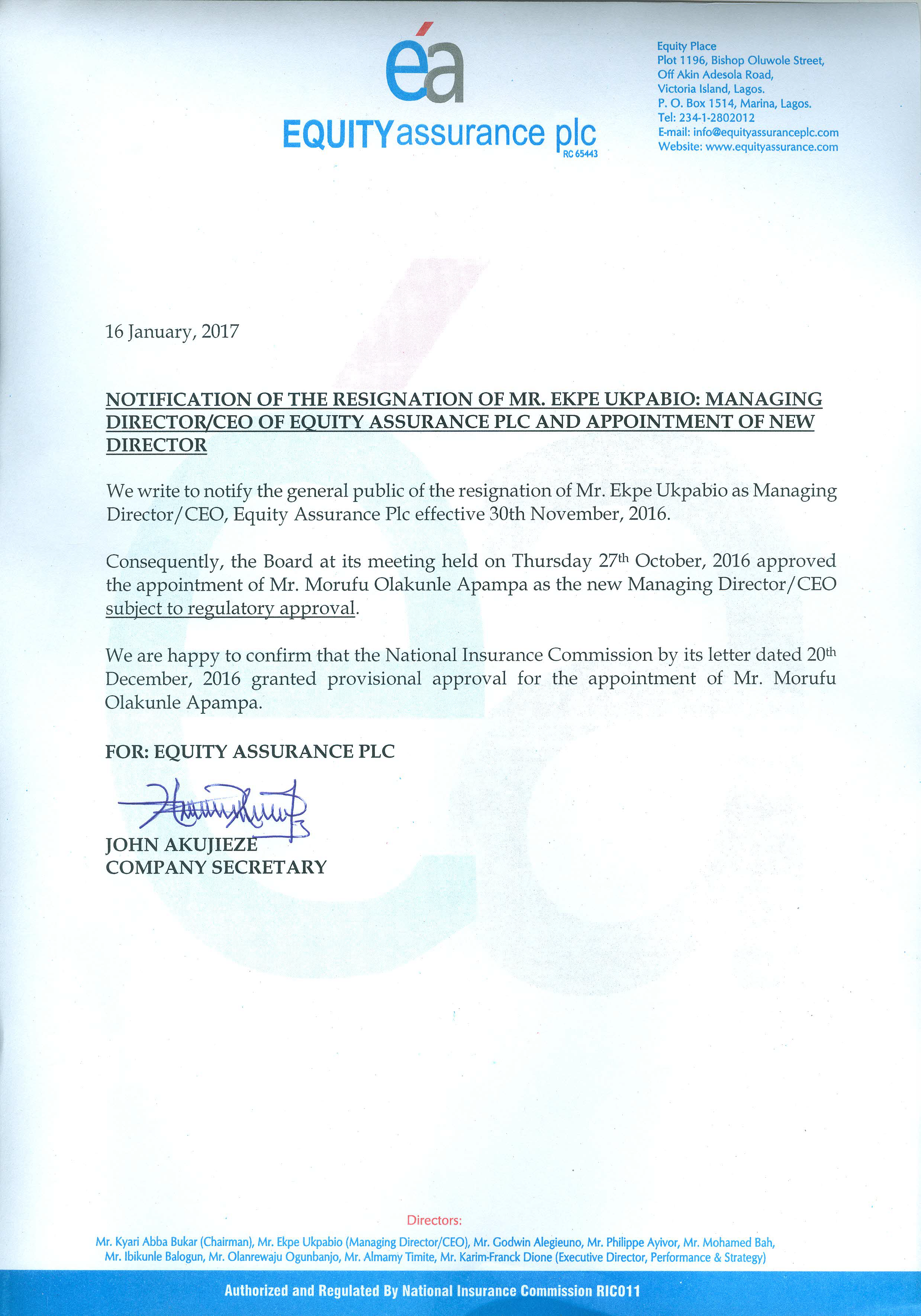 Photo of Equity Assurance Gets New MD, As Ukpabio Resigns