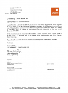 GTBank: Notification of Closed Period