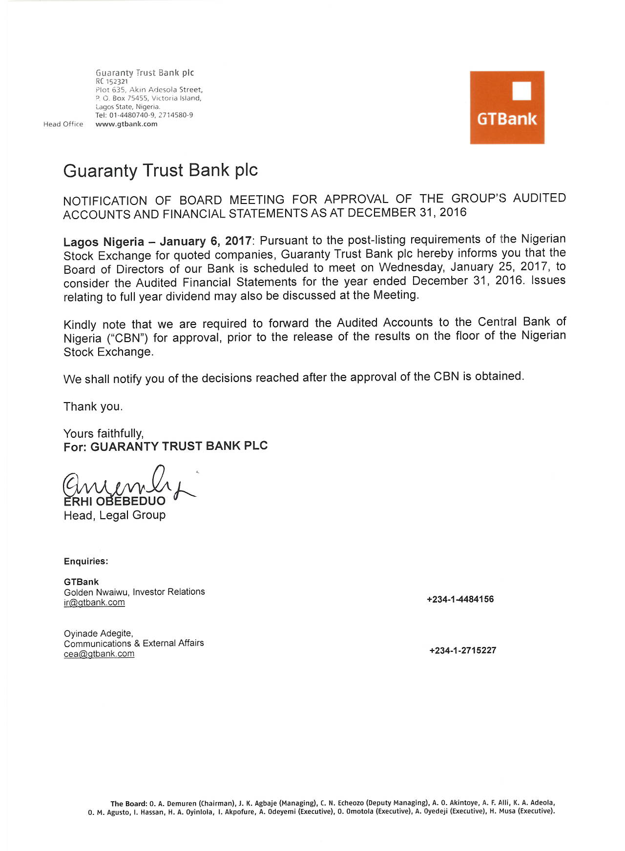 Photo of GTBank Board Meets Jan. 25 Over 2016 Audited Account, Final Dividend