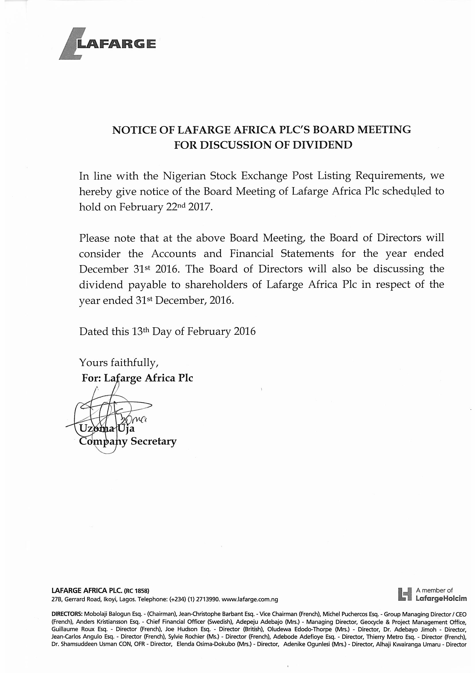 Photo of Lafarge Africa Board Meets Next Week Over 2016 Accounts, Dividend Payment