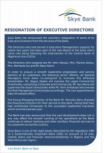 Skye Bank Announces Resignation of Four EDs