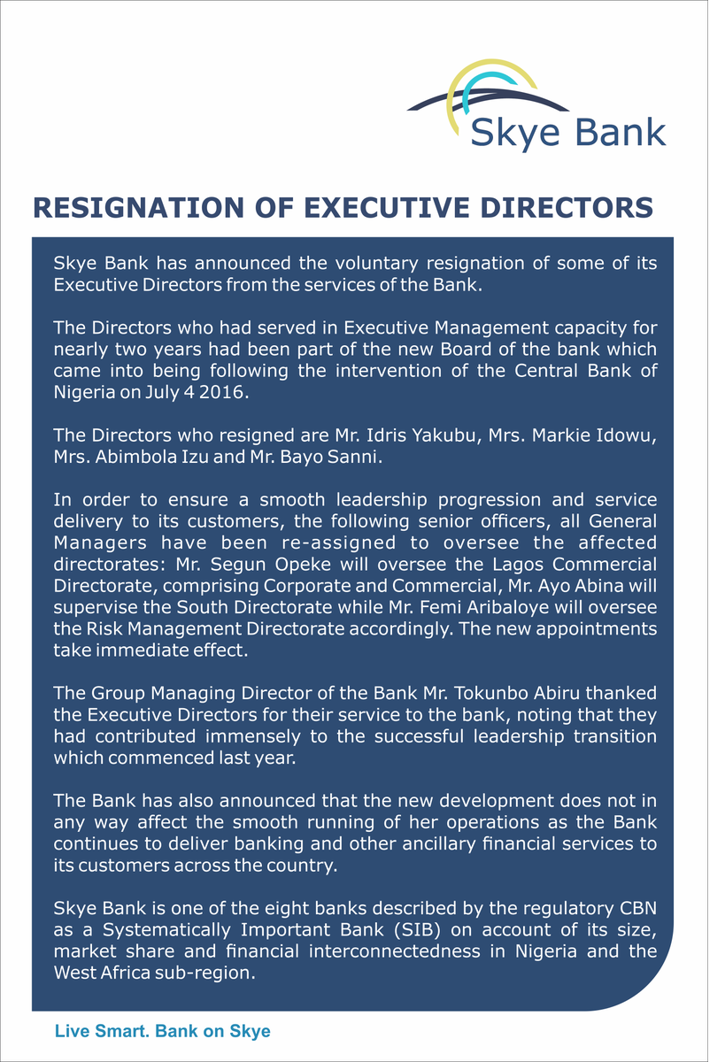 Photo of Skye Bank Announces Resignation of Four EDs