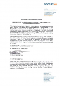 Access Bank Divests 17.65% Equity Stake In Stanbic IBTC Pension Managers Ltd