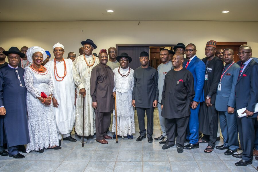 Photo of Niger-Delta New Vision: Acting President Yemi Osinbajo and Leaders of the Region on Thursday night