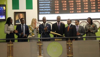 Photo News: Thomson Reuters Executives Sound Closing Gong On Nigeria's Exchange