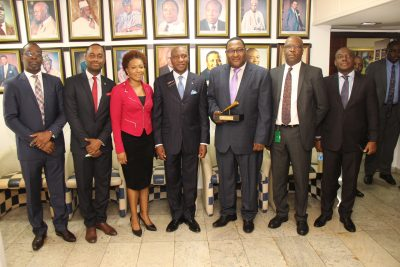 Photo News: Nigerian Shippers Council Executives Perform Closing Gong Ceremony On NSE