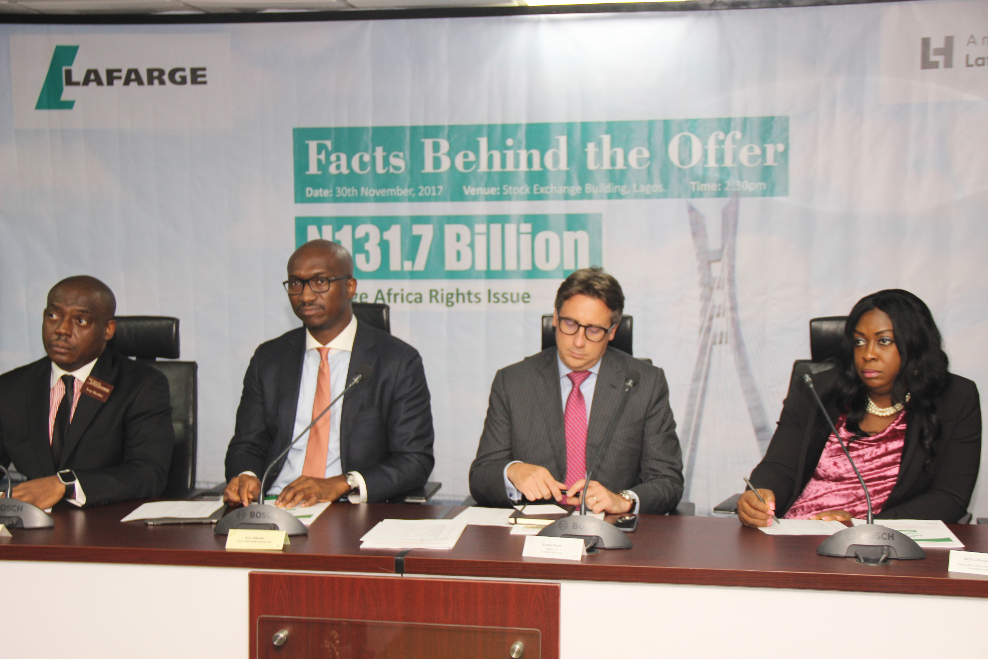 Lafarge Africa Executives Visit NSE For Fact Behind N140bn Rights Offer