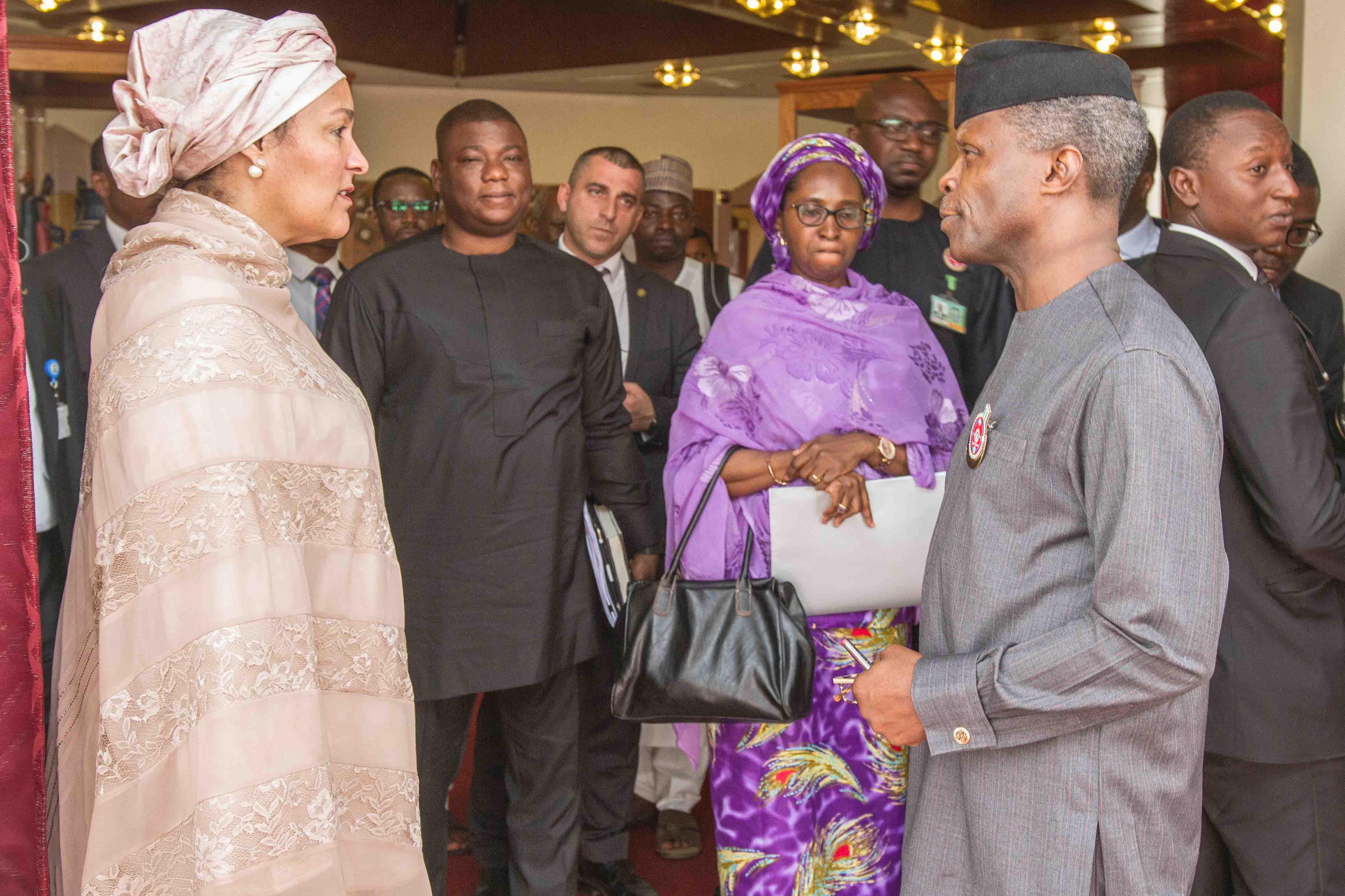 (Photo News) Osinbajo Receives Amina Mohammed, UN Deputy Scribe In Abuja