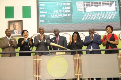 Photo News: New LCCI President Sounds Closing Gong At NSE