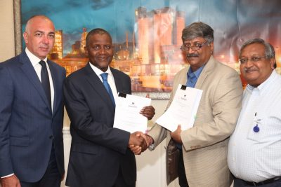 Photo News: Dangote Oil Refinery, Infrastructure Firm Sign MoU