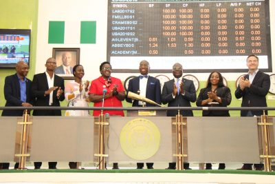 Photo: Olowu, New CIBN Chief, Joins LBS Programme Participants To Sound NSE Closing Gong