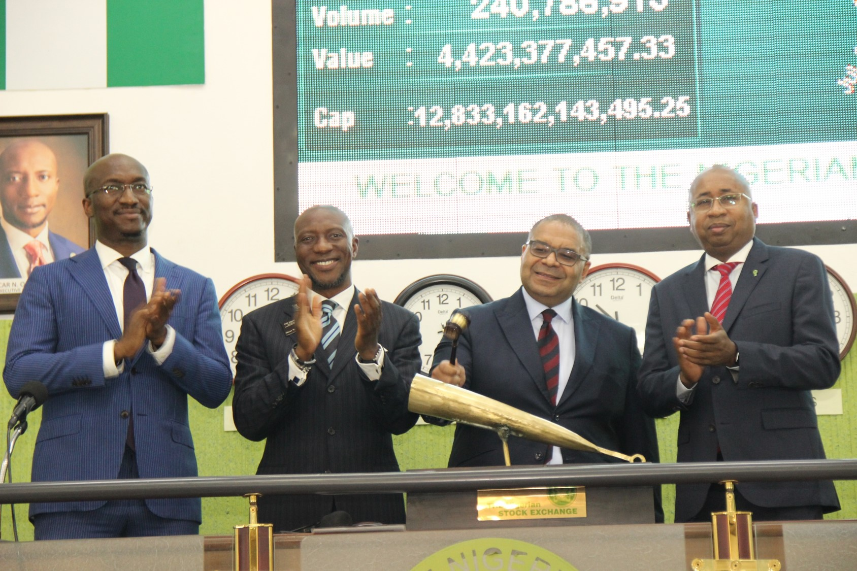 Photo of Andrew Alli, Former AFC CEO Sounds NSE Closing Gong