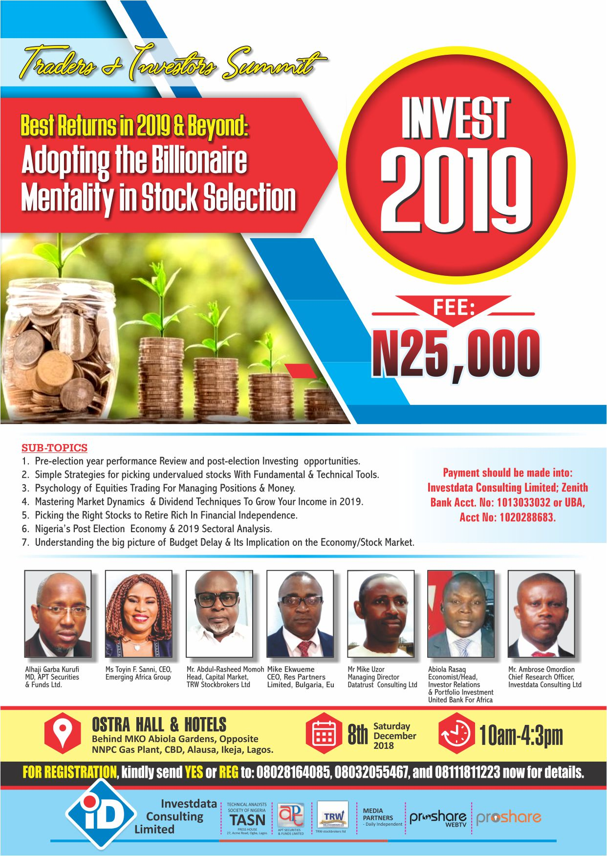 Toyin Sanni, Kurfi, Momoh, Others To Speak As Investdata 2019 Summit Holds Saturday